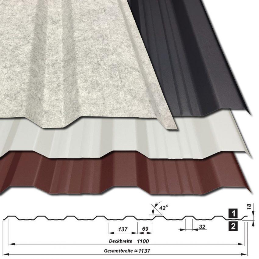 Trapezblech T-18DR/1100 mit Vlies und Querschnitt - 0,63 mm - alle Farben - 25 µm Polyester
